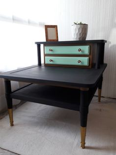 Mid Century Modern Redesigned Two Tier Side Table By VintageContempoBouti  On Etsy Https:/