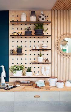 Wall shelves, kitchen pegboard, living furniture, home furniture, kitchen i Diy Kitchen Shelves, Kitchen Pegboard, Ikea Pegboard, Painted Pegboard, Pegboard Storage, Pegboard Display, Pegboard Craft Room, Desk Shelves, Paper Storage
