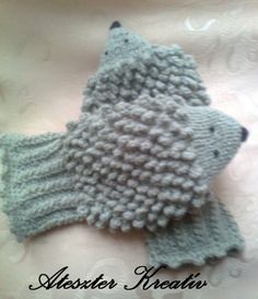 Hand knit hedgehog mittens gloves.. $24.00, via Etsy.