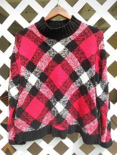 Woman's Argyle Pull Over Sweater Black Red White Monerey Koret Size L Soft #MontereybyKoret #PullOver