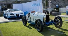 Bugatti 37A race car. New Grand Sport Veyron Vitesse in the background- a tribute to the old masterpiece
