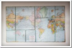 Pieced world map on wall
