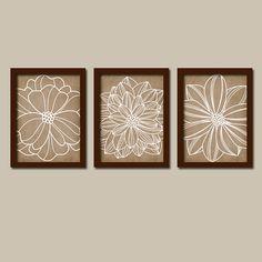 Beige Brown Cream EARTh Tones Dahlia Flower Artwork Set of 3 Trio Prints WALL ART Decor Abstract Picture Bedroom Bathroom