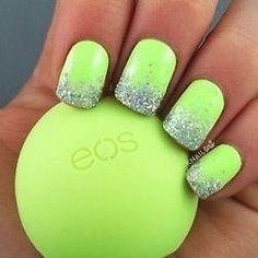 Lime green nails with silver sparkle.