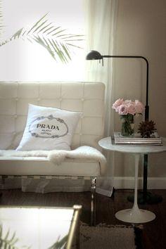small shop photo shoot sneak peek living room Barcelona chair Prada Saarinen table beni ourain