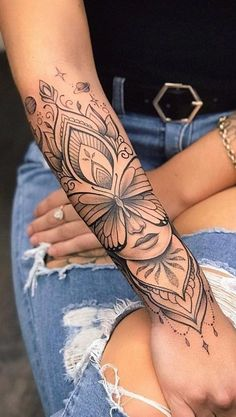 tattoos for women ~ tattoos . tattoos for women . tattoos for women small . tattoos for moms with kids . tattoos for guys . tattoos for women meaningful . tattoos for daughters . tattoos with kids names Floral Arm Tattoo, Floral Tattoo Design, Mandala Tattoo Design, Flower Design Tattoos, Flower Arm Tattoos, Diy Tattoo, Arm Tattoo Ideas, Tattoo Ink, Tattoo Moon