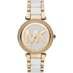 Michael Kors Watches Parker Gold-Tone and White 3 Hand Watch Women's ($275) ❤ liked on Polyvore featuring jewelry, watches, fashion accessories, metalic, goldtone jewelry, white jewelry, white metal jewelry, michael kors and metal jewelry