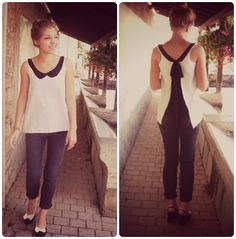 Peter pan collar and open-back bow shirt