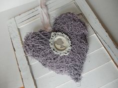 Rustic Moss Heart Silhouette Pink Chic Shabby by PerchAndPatina