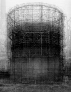 Gasworks wonders… Inspired by the Bechers' series, Idris Khan's ghostly composite Every… Bernd and Hilla Becher Prison Type Gasholder. Photograph: Victoria Miro Gallery, London