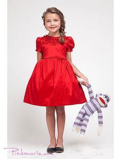 cute simple classic dress girls christmas dresses girls red party dress red flower girl - Girls Red Christmas Dress