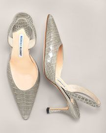 Manolo Blahnik Croc Slingback Bright Colors Neiman Marcus - Stylehive