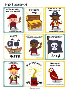 You'll love these cute FREE printable pirate-themed lunchbox notes. This is an easy idea to surprise kids and remind them that they're special! Lunchbox Notes For Kids, Lunch Notes, Kids Lunch For School, School Snacks, Kid Lunches, Lunchbox Ideas, Pirate Kids, Pirate Day, Pirate Theme
