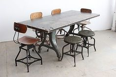 Vintage-Industrial-72-x34-Dining-Table-Cast-Iron-Desk-Machine-Age-Factory-1930s