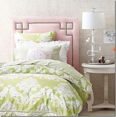 I love the headboard...and combination of pink and green!