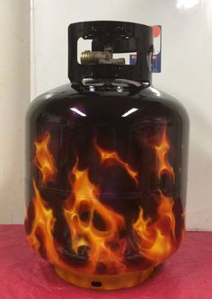 Propane Tank, Real Fire Airbrushed Painted by Roberto Elmes