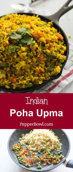 Low Unwanted Fat Cooking For Weightloss Poha Upma Recipe Aval Upma Yields Soft And Fluffy Poha Perfect For Breakfast. Clarified Well With Step By Step Pictures. By means of Pepperbowl Healthy Breakfast Recipes, Easy Healthy Recipes, Brunch Recipes, Appetizer Recipes, Vegetarian Recipes, Easy Meals, Cooking Recipes, Appetizers, Easy Snacks