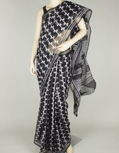 Hand Block Print Kota Doria Saree without Blouse-1118