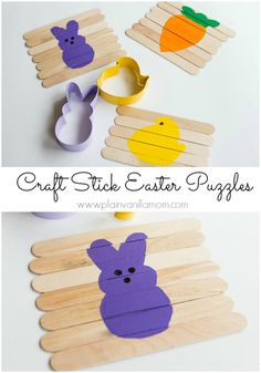 DIY craft stick Easter puzzles. But you could apply this concept to pretty much any image! #speechcrafts FINE MOTOR