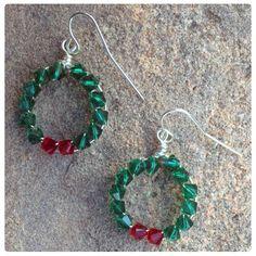 Fülbevaló inspiráció Karácsonyra, #Swarovski Xilion #Bicone kristály gyöngyökből.