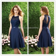 Wholesale Short Navy Blue Bridesmaid Dress Halter High Neck Cutout Back Lace Chiffon Bridesmaid Dresses Knee Length Cheap Beach Bridesmaids Dresses Blue Lace Prom Dress, Dark Blue Bridesmaid Dresses, Navy Blue Bridesmaids, Open Back Prom Dresses, Bridesmaid Dresses Online, Beach Bridesmaids, Lace Dresses, Dress Lace, Cheap Dresses