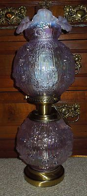 Gorgeous Large Fenton Lavender Gone with The Wind Lamp New in Box | eBay