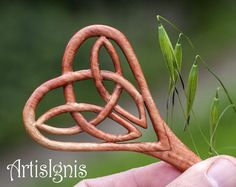 Celtic Heart Trinity Knot Hair Stick Handcarved in by ArtisIgnis