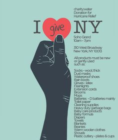 charity: water opened a drop-off donation center at the Soho Grand to collect essential supplies for families hardest hit by hurricane Sandy. Ad Design, Graphic Design, Design Concepts, Ways To Fundraise, Hurricane Sandy, Love My Job, Cool Posters, Youre Invited, Fundraising