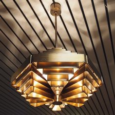 Jules Wabbes; Brass 'Osaka' Ceiling Light, 1960.