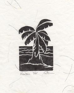 Linocut Banana by the Shore-Original Handpulled by Diane Cutter matted & ready for 8x10 frame. $25.00, via Etsy.
