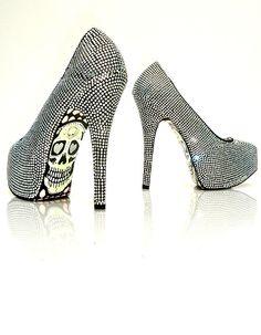 black and silver skull heels