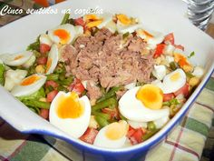 Cinco sentidos na cozinha: Salada de grão,feijão verde, tomate e pimento com ...