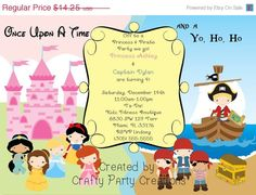 11 best princess pirate party images on pinterest birthday party on sale princess pirate invitation princess pirate party double birthday invitation custom filmwisefo