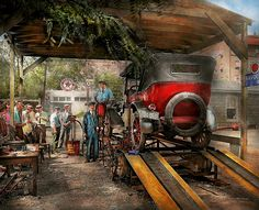 Colorized photo from 1924 Original title: Havoline Oil Co Location: The Washington DC area  The device the car is on is called a Dynamometer, its used to check horsepower and sometimes piston leaks. I suppose its also good for changing oil and making dramatic exits when the cops are chasing you. #savad #garage #mechanic #colorized