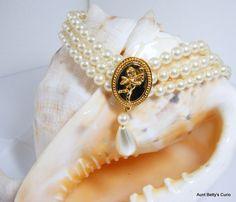 Vintage Multi Strand Pearl choker,Pearl jewelry,Gold Cupid medallion,Cupid designs,Victorian Revival choker,Baroque pearl drop,