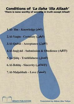 Conditions of laa ilaha ilallaah
