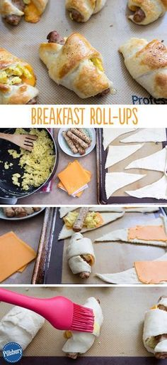 Crescent rolls, sausage links, and scrambled eggs rolled into a breakfast treat! An easy recipe for moms on-the-go. Crescent rolls, sausage links, and scrambled eggs rolled into a breakfast treat! An easy recipe for moms on-the-go. What's For Breakfast, Breakfast Dishes, Breakfast Recipes, Breakfast Casserole, Breakfast Tailgate Food, Breakfast Burritos, Sausage Breakfast, Crescent Roll Recipes, Crescent Rolls