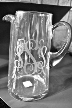 glassed etched pitcher for $32