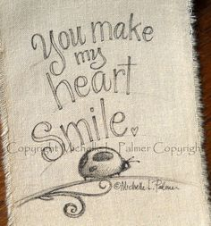 Garden Ladybug Lady Bird original pen ink illustration on fabric Quilt Label by Michelle Palmer July 2013