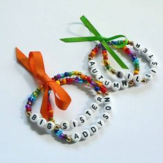 Rainbow Name Bracelet Personalized Children's Jewelry 1 Set of 2 with Bow Big Sister Little Sister Infant Child Adult Sizes Stocking Stuffer. $6.50, via Etsy.