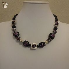 Black and Purple Flower with Silver Beaded Necklace - Wedding nacklaces (*Amazon Partner-Link)
