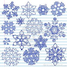 Hand Drawn Snowflakes Set Of 20 Doodles Stock Vector - Image: 45619455