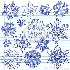 Winter Snowflakes Hand-Drawn Sketchy Doodles