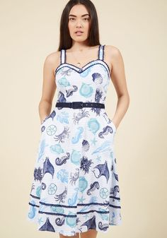 Ready or Naut Fit and Flare Dress in S, #ModCloth