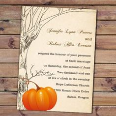 fall pumpkin wedding invitations