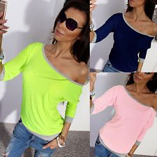 Sexy Womens Long Sleeve Loose Casual Off Shoulder Cotton Tee Shirt Blouse Tops
