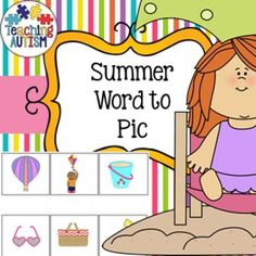 Word to Picture Matching Summer, Seasons, Reading Strategies  Laminate the picture page as an a4 page to use as a board. Cut out and laminate the box words. Pupils have to match the words to the pictures. Excellent at working out if children are able to recognize items related to summer and how well they can read. This worked really well with an autistic child who was non-verbal but could actually read almost every word!  Contains 4 activities.