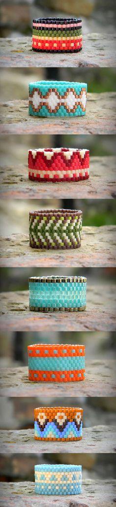Peyote rings Seed Bead rings Wide band rings delica bead rings beaded rings beadwoven rings #beadwork #beading #peyotestitch #jewelry
