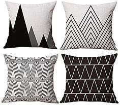 Modern Simple Geometric Style Cotton & Linen Throw Pillow Covers, 18 x 18 Inches, Pack of 4 (Black) Sofa Covers, Pillow Covers, Mubarak Ramadan, White Cushion Covers, Orange Throw Pillows, Thing 1, Bed Linen Design, Geometric Pillow, Throw Pillow Cases