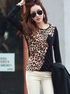 Fashion Leopard Printed Long Sleeve Shirt Apricot
